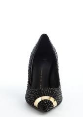 Giuseppe Zanotti black leather crystal studded detail 'Ester 80' pumps