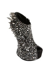 Giuseppe Zanotti black suede crystal and spike studded platform peep toe pumps