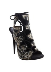 Giuseppe Zanotti black suede crystal studded lace up bare heel pumps