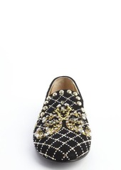 Giuseppe Zanotti black suede jewel and brass studded flats
