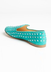 Giuseppe Zanotti green suede crystal studded flats