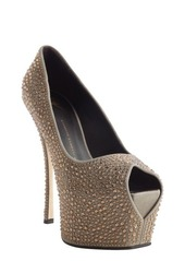 Giuseppe Zanotti grey and brown 'Liza 90' studded platform pumps