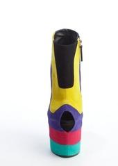 Giuseppe Zanotti rainbow color block peep tow platform wedges
