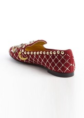 Giuseppe Zanotti red suede jewel and brass studded flats