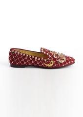 Giuseppe Zanotti red suede jewel and brass studded flats