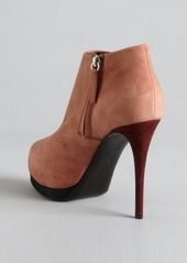 Giuseppe Zanotti salmon and plum suede colorblocked platform ankle boots