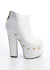 Giuseppe Zanotti white studded leather peep toe zip back platforms