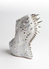 Giuseppe Zanotti white suede crystal and spike studded platform peep toe pumps