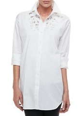Go Silk Silk Big Shirt with Lace