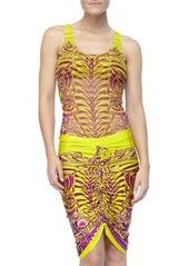 Printed Drawstring Coverup Skirt   Printed Drawstring Coverup Skirt