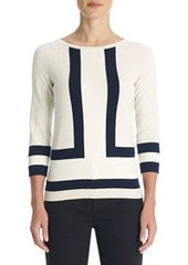 Boat Neck Sweater with 3/4 Sleeves