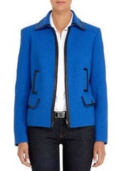 Cobalt Blue Jacket with Black Faux Leather Trim