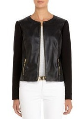 Perforated Black Faux Leather Jacket