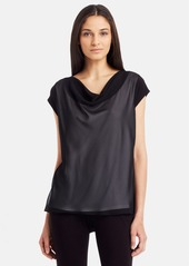Kenneth Cole New York 'Buffy' Chiffon Overlay Knit Top (Petite)