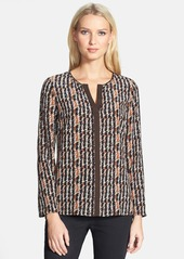 Lafayette 148 New York 'Opal - Harvest Check' Print Silk Blouse