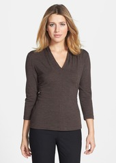 Lafayette 148 New York Pleated V-Neck Top (Petite)