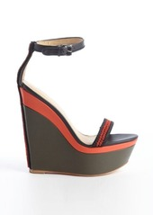 L.A.M.B. black and olive leather 'Penny' wedge sandals