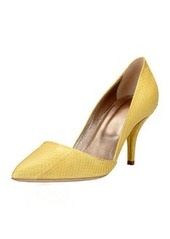 Lanvin Snakeskin Pointed-Toe Pump, Yellow
