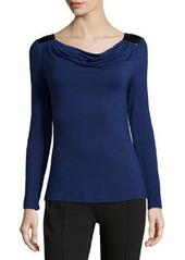 Laundry by Shelli Segal Drape-Back Jersey Top, Midnight