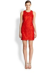 Laundry by Shelli Segal Embroidered Floral Lace Dress