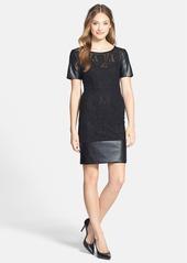 Laundry by Shelli Segal Faux Leather & Lace Sheath Dress