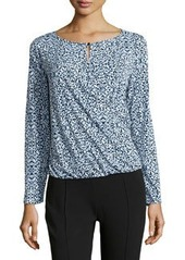 Laundry by Shelli Segal Geo-Print Drape-Front Top, Blue/Black/White