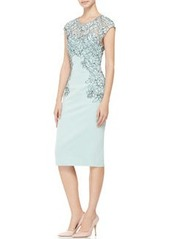 Lela Rose Cap-Sleeve Placed-Lace Dress
