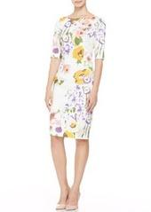 Lela Rose Half-Sleeve Floral Sheath Dress