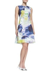 Lela Rose Seamed Drop-Waist Printed Cotton Dress