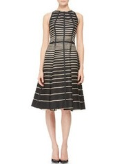 Lela Rose Seamed Striped Halter Dress