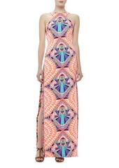 Mara Hoffman High-Neck Printed Column Maxi Dress