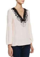 Nanette Lepore Moonlight Embroidered Silk Blouse