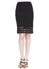 Nanette Lepore Sojourn Crochet-Stripe Pencil Skirt