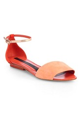 Narciso Rodriguez Suede & Metallic Leather Ankle-Strap Sandals