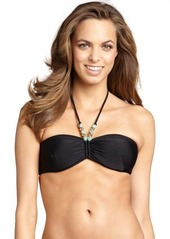 Shoshanna black and turquoise beaded halter tied bandeau top