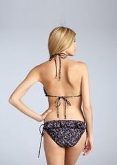 Shoshanna black floral 'Downtown Ditsy' wide ruffle string bikini bottom