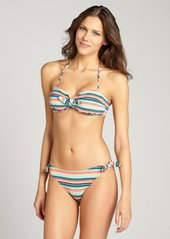 Shoshanna coral 'Brisbane' stripe jacquard bow brief