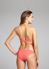 Shoshanna coral crocheted nylon hipster bikini bottom