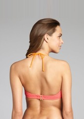 Shoshanna coral crocheted nylon underwire halter top
