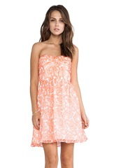 Shoshanna Coral Reef Chiffon Strapless Dress in Coral