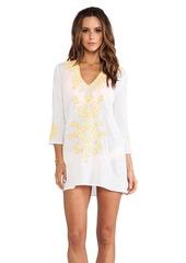 Shoshanna Embroidered V-Notch Tunic in White