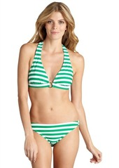 Shoshanna green and white stripe stretch nylon ring bikini bottoms