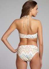Shoshanna teal and tan chevron printed wishbone bar hipster bottom