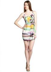 Shoshanna yellow and purple splash stripe stretch silk 'Serena' spaghetti strap sun dress