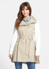 Steve Madden Two-Tone Asymmetrical High-Low Trench Coat