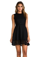 "Susana Monaco Novelty Laser Cut Wool Gemma 17"" Dress in Black"