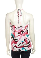 T Bags Halter Graphic-Print Stretch Blouse
