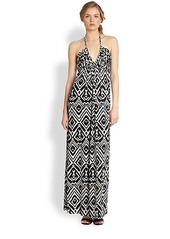 T-bags Los Angeles Tribal-Inspired Printed Halter Maxi Dress