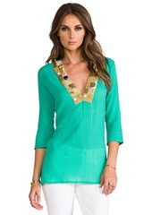 T-Bags LosAngeles Embellished Long Sleeve V Neck Top in Green