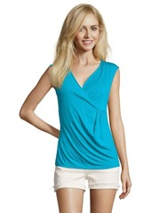 Tahari turquoise stretch ruched detail sleeveless top